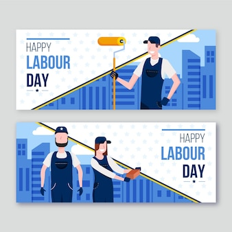 Zestaw płaskich banerów święta pracy
