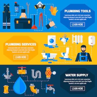 Zestaw płaskich banerów usługi hydrauliczne