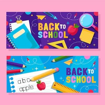 Zestaw płaskich banerów z powrotem do szkoły
