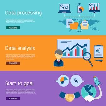 Zestaw płaskich banery analizy danych