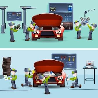 Zestaw płaskich banery auto mechanik usługi