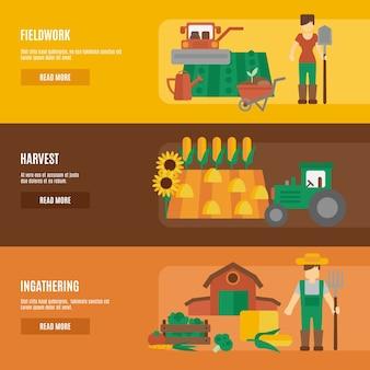 Zestaw płaskich banery ziemi rolnika