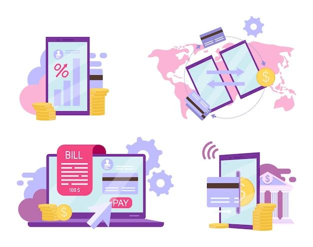 Zestaw płaskich bankowości internetowej. koncepcja wysokiego oprocentowania depozytu. system rozliczeniowy, przelewy z karty kredytowej, metafory z kreskówek w aplikacji do płatności elektronicznych. natychmiastowe transakcje finansowe, ewallet