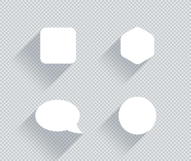 Zestaw płaskich białych kształtów z przezroczystymi cieniami