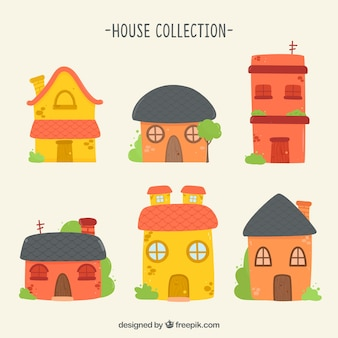 Zestaw płaskich domów