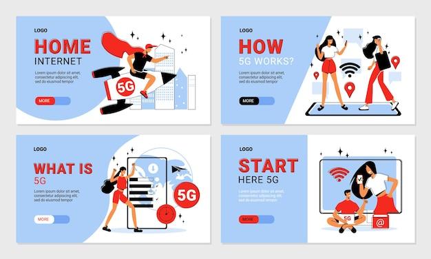 Zestaw płaskich domowych poziomych banerów internetowych 5g z edytowalnymi ludźmi tekstowymi i odizolowanymi urządzeniami elektronicznymi