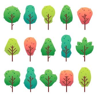 Zestaw płaskich drzew. pień drzewa ogrodowego, krzew i sosna. natura zielony krajobraz na białym tle
