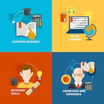 Zestaw płaskich elementów e-learningowych