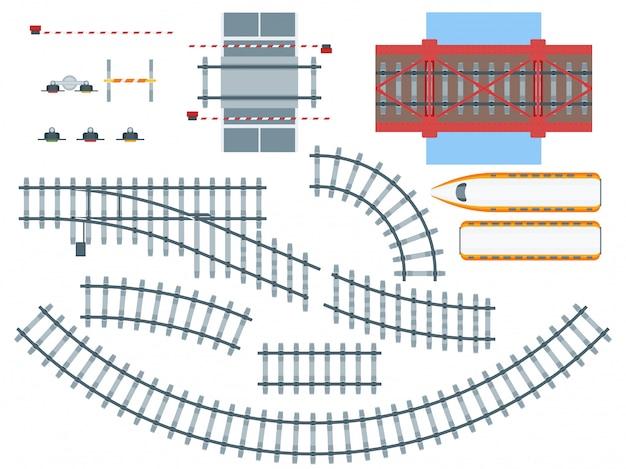 Zestaw płaskich elementów kolejowych