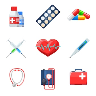 Zestaw płaskich elementów medycznych. termometr pigułkowy tonometr kapsułka z lekiem do terapii bicia serca.