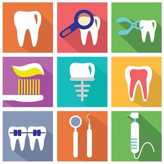 Zestaw płaskich elementów o dentystów