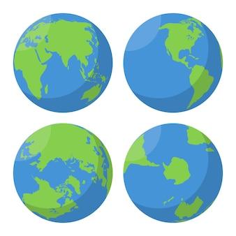 Zestaw płaskich globusów ziemi.