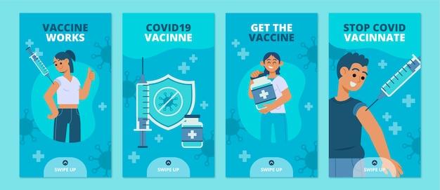 Zestaw płaskich historii o szczepionkach na instagramie