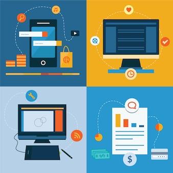 Zestaw płaskich ikon koncepcji projektowania usług internetowych i mobilnych
