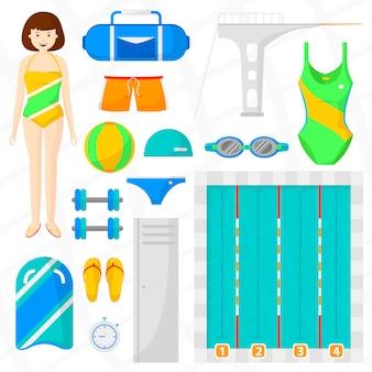 Zestaw płaskich ikon pływania.