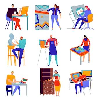 Zestaw płaskich ikon zawodów kreatywnych grafik malarz mistrz rzeźbiarz konserwator na białym tle