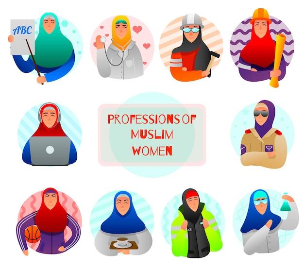 Zestaw płaskich ikon zawodów muzułmańskich kobiet nauczyciel lekarz wojskowy budowniczy i naukowiec na białym tle ilustracja