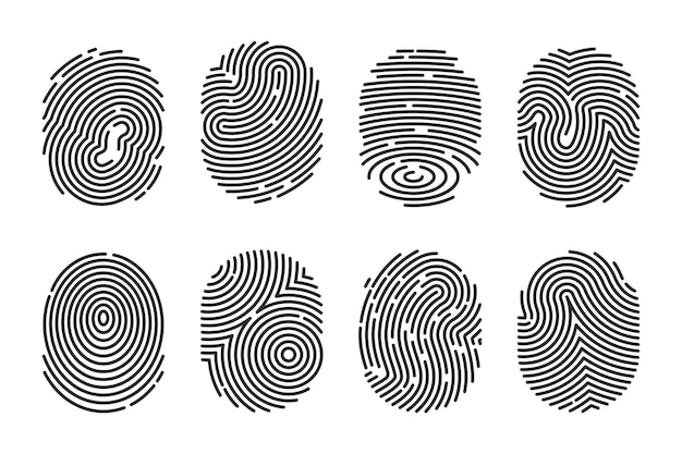 Zestaw płaskich ilustracji czarny szczegółowe odciski palców. policyjny skaner elektroniczny z kciukiem do zbierania danych o przestępstwach na białym tle. koncepcja tożsamości i technologii palców