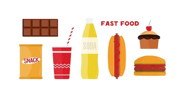 Zestaw płaskich ilustracji fast food