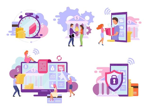 Zestaw płaskich ilustracji konta bankowego. indywidualne rozwiązania i usługi wysokiej ochrony. depozyty mobilne, koncepcje płatności natychmiastowych. płatności za rachunki, inwestycje online, metafory przekazów pieniężnych