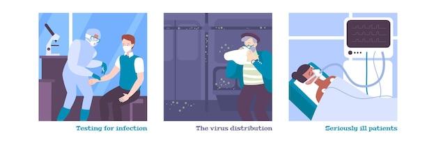 Zestaw płaskich ilustracji koronawirusa