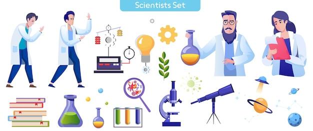 Zestaw płaskich ilustracji laboratorium naukowego
