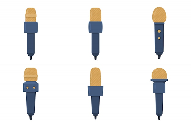 Zestaw płaskich ilustracji mikrofonów