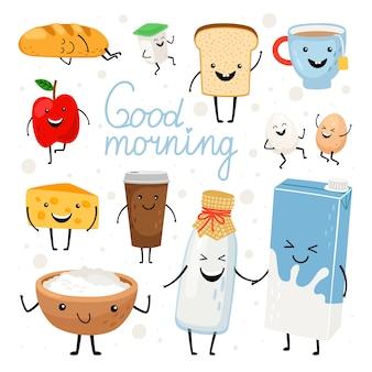 Zestaw płaskich ilustracji mlecznych kawaii. butelka mleka, filiżanka herbaty, ser z uroczymi uśmiechniętymi twarzami
