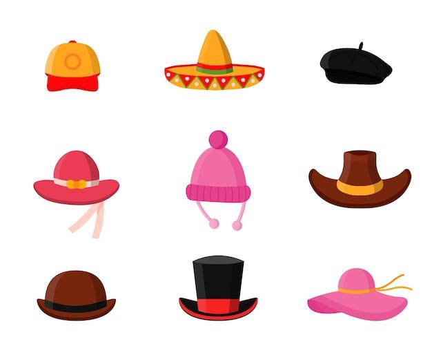 Zestaw płaskich ilustracji nakrycia głowy, sklep z nakryciami głowy dla mężczyzn i kobiet, modne akcesoria do garderoby, czapka z daszkiem, meksykańskie sombrero, stylowy beret, panama, kowbojski kapelusz, magiczny cylinder, melonik