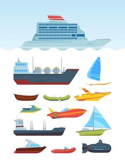 Zestaw płaskich ilustracji nowoczesnych statków morskich i łodzi. różna kolekcja transportu wodnego.