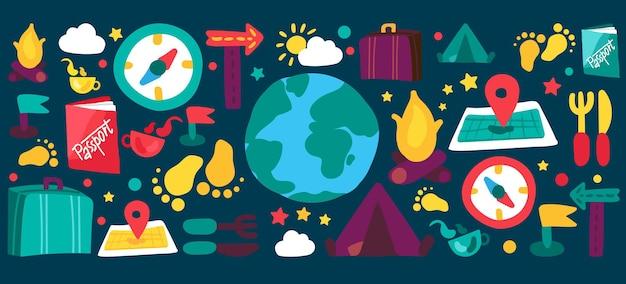 Zestaw płaskich ilustracji podróży i kempingu. turystyka, rekreacja, wakacje, wycieczki