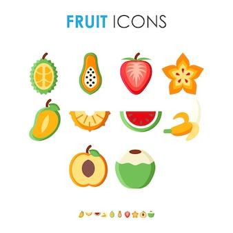 Zestaw płaskich ilustracji różnych ikon owocowych zdrowe i organiczne posiłki z naturalnej żywności
