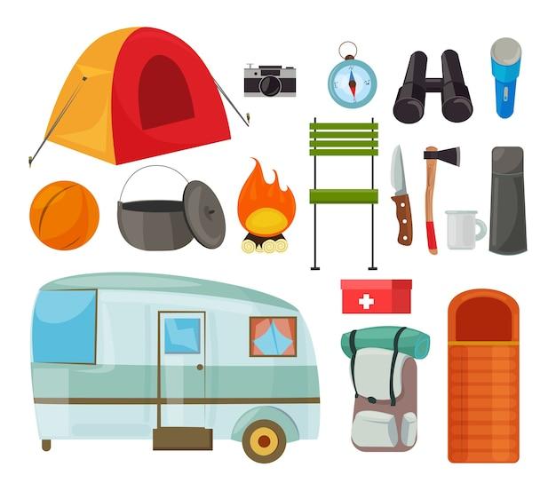Zestaw płaskich ilustracji sprzętu turystycznego rysunek kolorowy przedmiotów kempingowych przyczepa podróżna