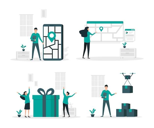 Zestaw płaskich ilustracji usługi dostawy