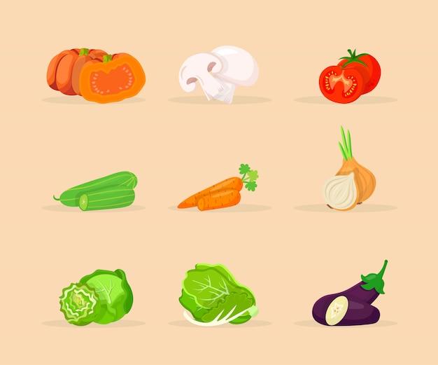 Zestaw płaskich ilustracji warzyw