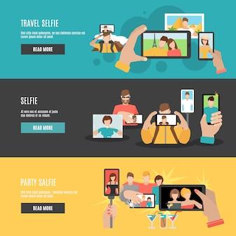 Zestaw płaskich interaktywnych banerów płaskich selfie