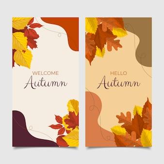 Zestaw płaskich jesiennych banerów