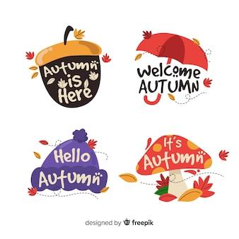 Zestaw płaskich jesiennych odznak