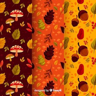 Zestaw płaskich jesiennych wzorów