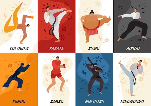 Zestaw płaskich kart bojowników różnych sztuk walki podczas ćwiczeń izolowanych na kolorowej ilustracji