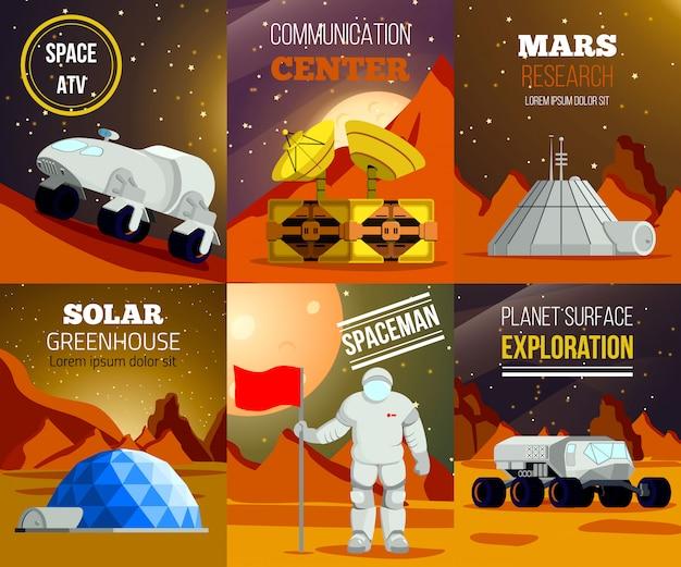 Zestaw płaskich kart kolonizacji planety