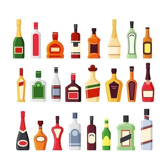 Zestaw płaskich kolorów różnych szklanych butelek alkoholu