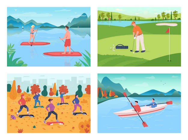 Zestaw płaskich kolorów sportowych na świeżym powietrzu. trening fitness. gracz w golfa. zespół kajakarski. sportowca i sportsmenka postaci z kreskówek 2d z sezonowym krajobrazem na kolekcji tła