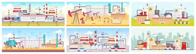Zestaw płaskich kolorów w obiektach przemysłowych. rafineria ropy naftowej, elektrownia jądrowa i fabryka krajobrazy z kreskówek 2d. obiekty do wydobywania i eksploatacji surowców naturalnych.