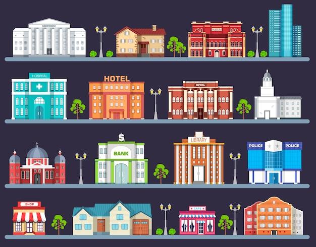 Zestaw płaskich kolorowych budynków miejskich