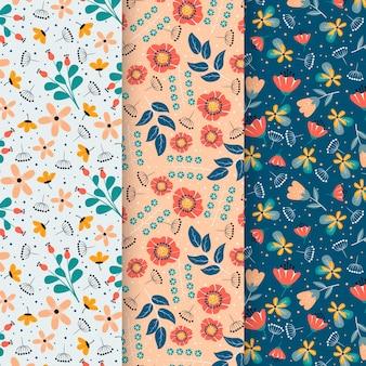 Zestaw płaskich kolorowych wiosennych wzorów