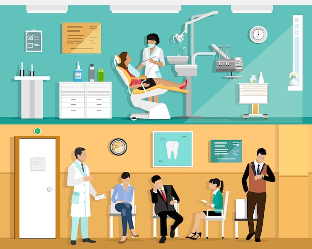 Zestaw płaskich kolorowych wnętrz gabinetu dentysty z fotelem dentystycznym, dentystą, pacjentem i narzędziami dentystycznymi. poczekalnia dla pacjentów w gabinecie stomatologicznym.