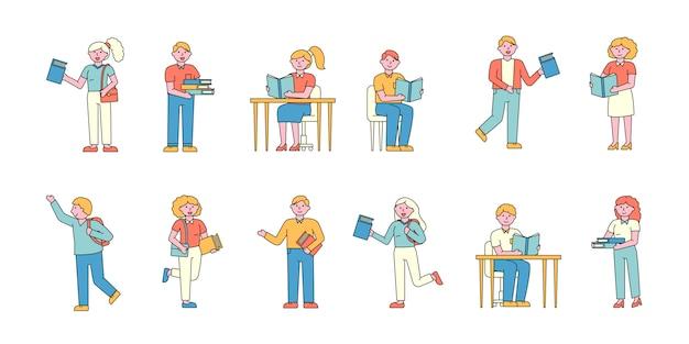 Zestaw płaskich kombajnów dla studentów. młodzi ludzie studiujący podręczniki i samouczki.