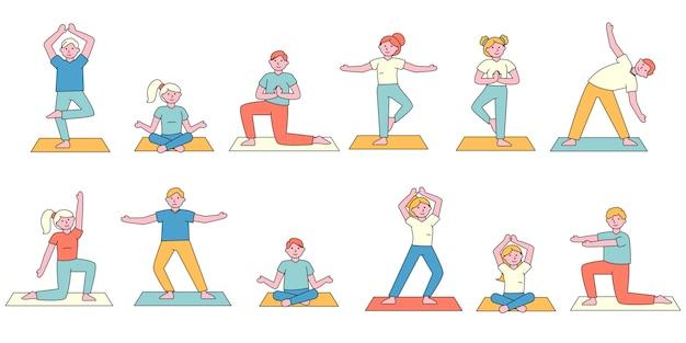 Zestaw płaskich kombajnów dla uczniów jogi. ludzie wyceniają różne asany.