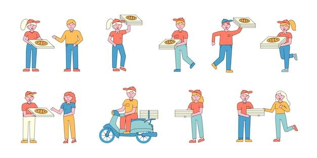 Zestaw płaskich kombajnów do pizzy. ludzie zamawiający włoską przekąskę.